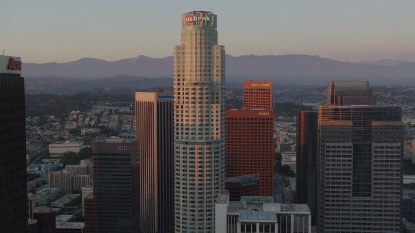 1080 stock footage aerial video orbit US Bank Tower to reveal top of Aon Center at sunset, Downtown Los Angeles, California Aerial Stock Footage | HDA06_53