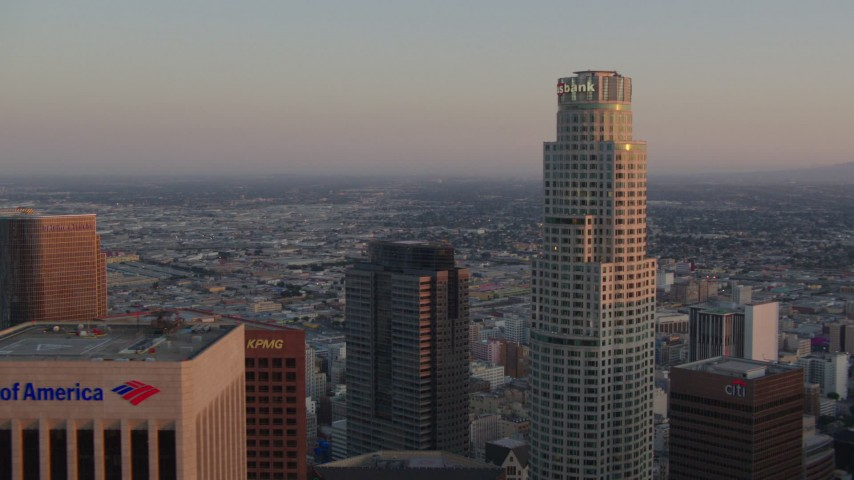1080 stock footage aerial video flyby US Bank Tower to reveal Bank of America Center at sunset, Downtown Los Angeles, California Aerial Stock Footage | HDA06_54