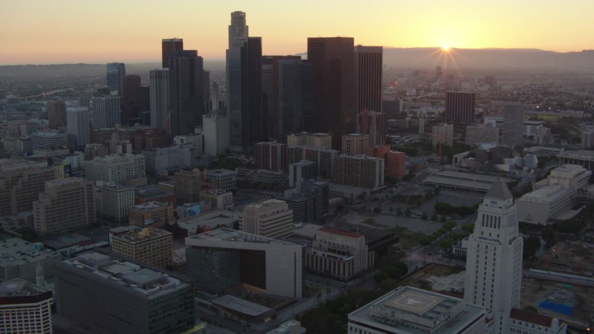 1080 aerial video flyby top of Los Angeles City Hall at sunset, approach Downtown Los Angeles, California Aerial Stock Footage | HDA06_55