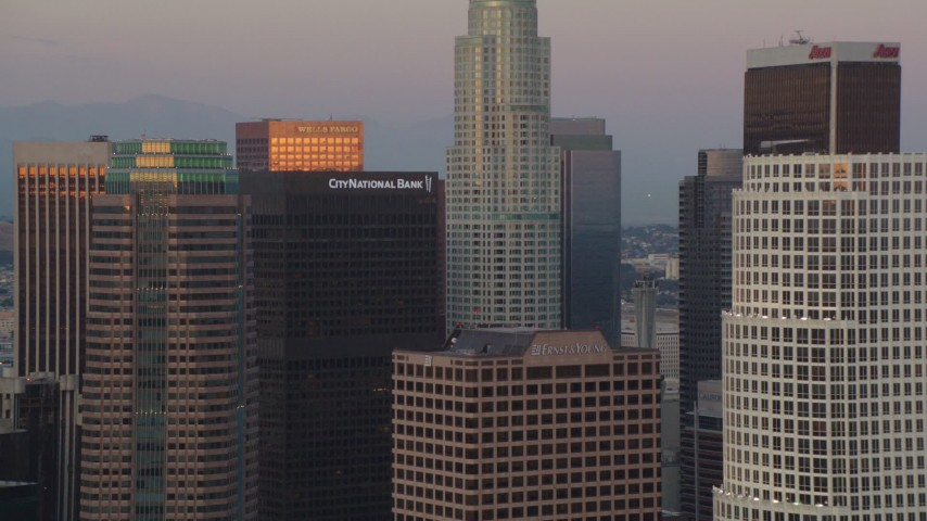 1080 aerial video skyscrapers near US Bank Tower at twilight in Downtown Los Angeles, California Aerial Stock Footage | HDA06_59