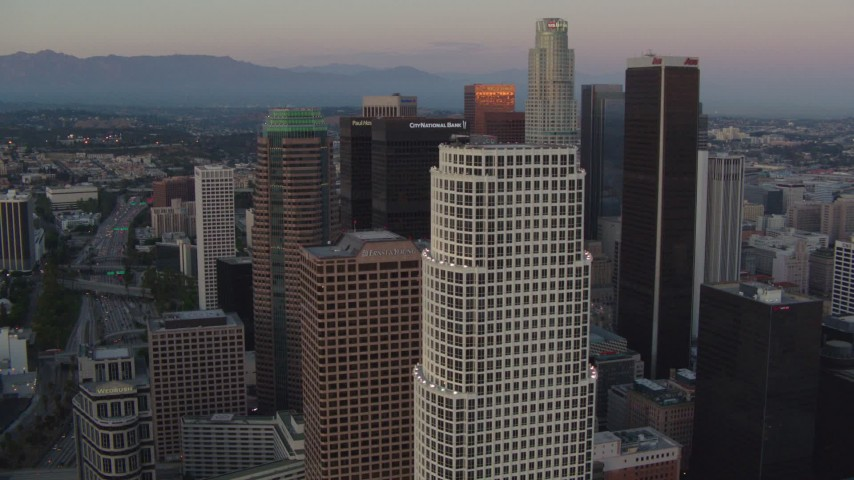 1080 stock footage aerial video flyby 777 Tower and skyscrapers near US Bank Tower at twilight in Downtown Los Angeles, California Aerial Stock Footage | HDA06_60