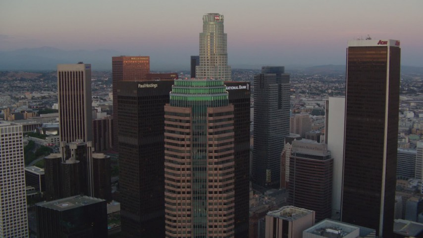 1080 aerial video fly over Figueroa at Wilshire to approach US Bank Tower at twilight, Downtown Los Angeles, California Aerial Stock Footage | HDA06_61