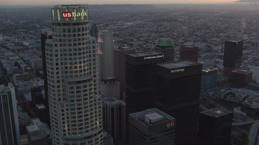 1080 stock footage aerial video orbit top of US Bank Tower to reveal other skyscrapers in Downtown Los Angeles, California at twilight Aerial Stock Footage | HDA06_62