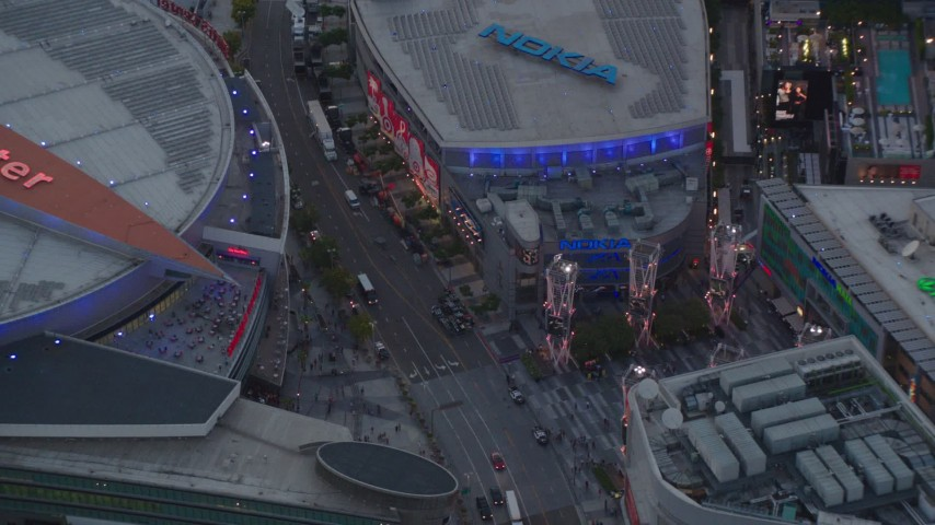 1080 stock footage aerial video bird's eye view of Staples Center and Nokia Theater at twilight in Downtown Los Angeles, California Aerial Stock Footage | HDA06_65