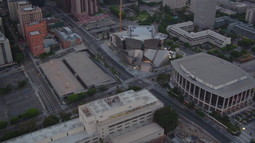 1080 aerial video orbit Walt Disney Concert Hall and Dorothy Chandler Pavilion at twilight in Downtown Los Angeles, California Aerial Stock Footage | HDA06_70
