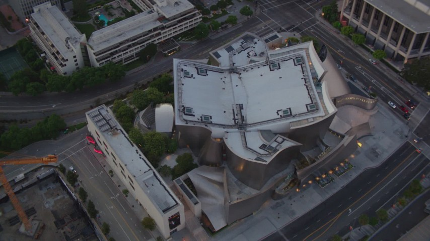 1080 stock footage aerial video an orbit of the Walt Disney Concert Hall at twilight in Downtown Los Angeles, California Aerial Stock Footage | HDA06_71