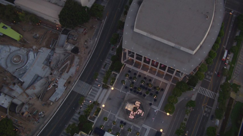 1080 aerial video bird's eye view of fountain, tilt to reveal skyscrapers at twilight, Downtown Los Angeles, California Aerial Stock Footage | HDA06_74