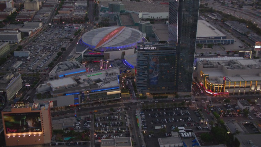 1080 stock footage aerial video approach Nokia Theater, Staples Center and hotels in Downtown Los Angeles, California, twilight Aerial Stock Footage | HDA06_77