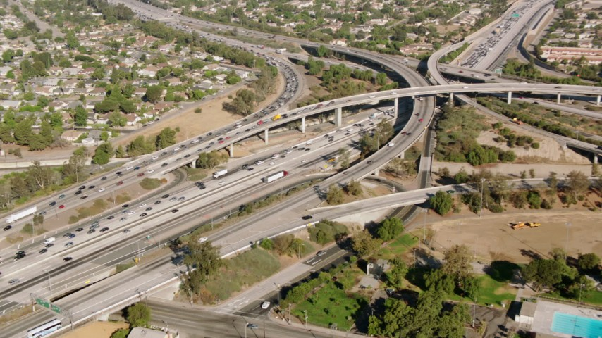 1080 stock footage aerial video of the I-5 and reveal 118 interchange, San Fernando Valley, California Aerial Stock Footage | HDA07_02