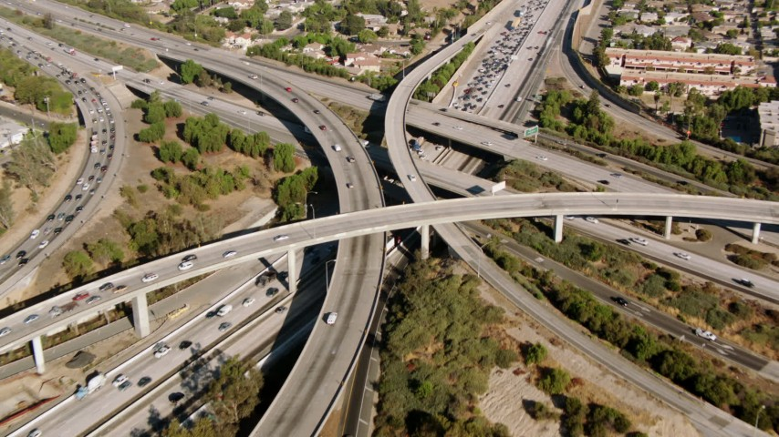 1080 stock footage aerial video of the I-5 and 118 interchange, San Fernando Valley, California Aerial Stock Footage | HDA07_03