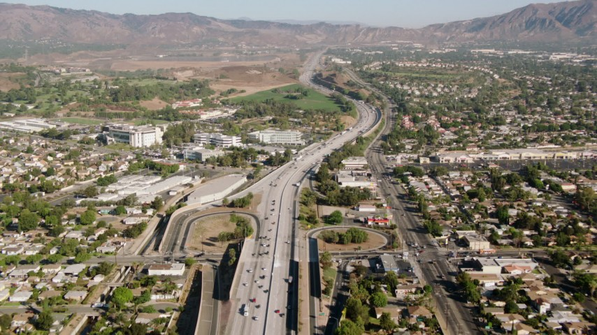1080 stock footage aerial video of following the I-5 freeway through San Fernando Valley, California Aerial Stock Footage | HDA07_04