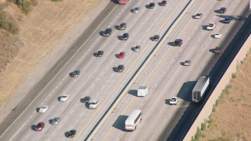 1080 stock footage aerial video light traffic on I-5, San Fernando Valley, California Aerial Stock Footage | HDA07_06