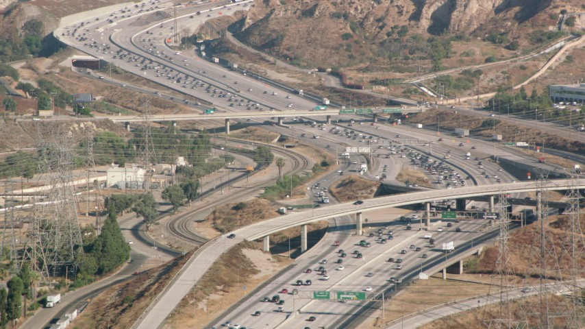 1080 stock footage aerial video following I-5 with heavy traffic, San Fernando Valley, California Aerial Stock Footage | HDA07_07