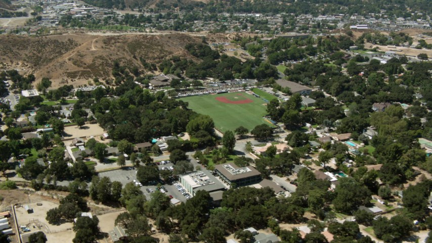 1080 aerial stock footage video of fly over homes to baseball field, Newhall, California Aerial Stock Footage   HDA07_25