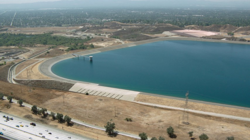 1080 stock footage aerial video of a view of the LA Reservoir in Granada Hills, California Aerial Stock Footage | HDA07_38