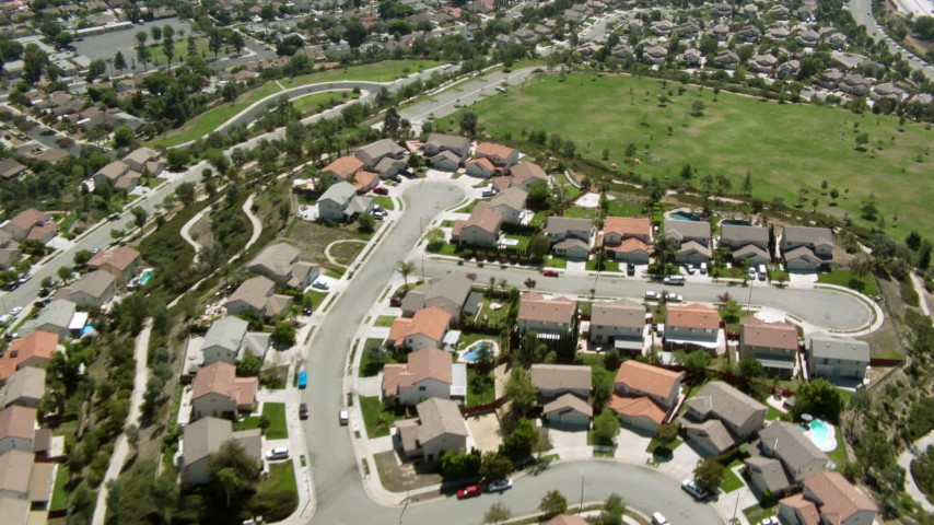 1080 aerial video of flying over homes and park in Sylmar, California Aerial Stock Footage HDA07_39
