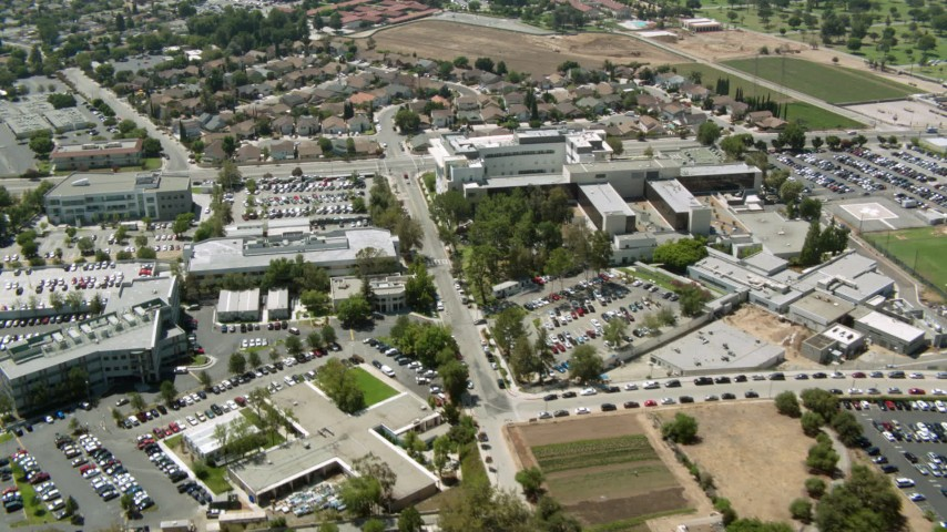 1080 stock footage aerial video fly over I-5 to reveal hospital in Mission Hills, California Aerial Stock Footage | HDA07_40