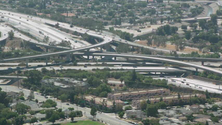1080 stock footage aerial video of the I-5 and I-118 interchange, Pacoima, California Aerial Stock Footage | HDA07_41