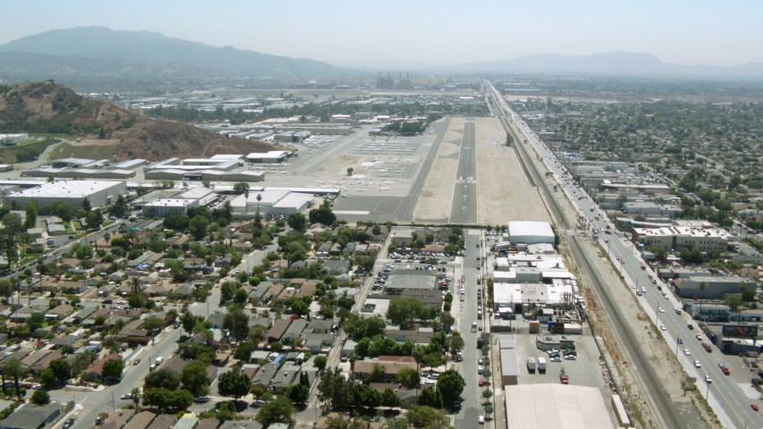 1080 stock footage aerial video of approaching Whiteman Airport, Pacoima, California Aerial Stock Footage | HDA07_43