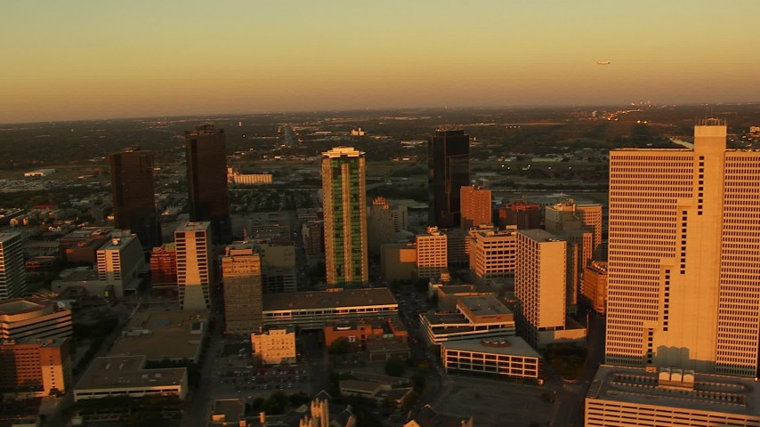 1080 stock footage aerial video of skyscrapers at sunset in Downtown Fort Worth, Texas Aerial Stock Footage | HDA12_001