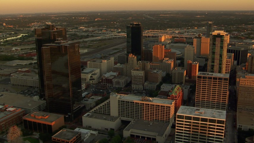 1080 stock footage aerial video of skyscrapers at sunset in Downtown Fort Worth, Texas Aerial Stock Footage | HDA12_003