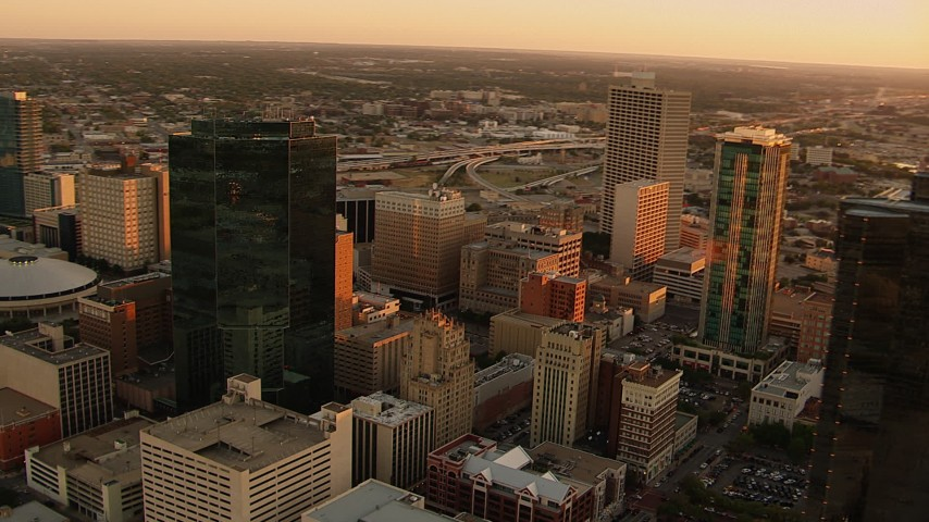 1080 stock footage aerial video of passing skyscrapers at sunset in Downtown Fort Worth, Texas Aerial Stock Footage | HDA12_006