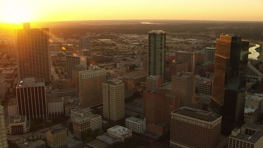 1080 stock footage aerial video flyby high-rise buildings at sunset in Downtown Fort Worth, Texas Aerial Stock Footage   HDA12_008