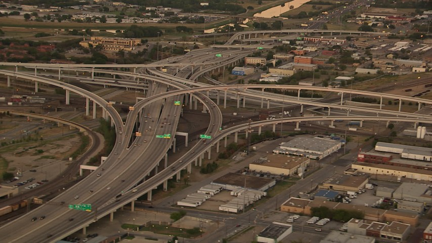 1080 stock footage aerial video of freeway interchanges at sunset, Downtown Fort Worth, Texas Aerial Stock Footage | HDA12_012