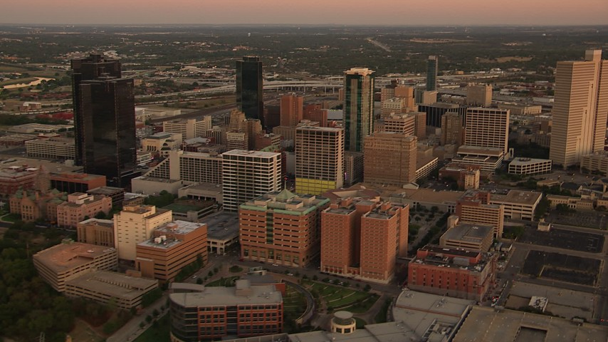 1080 stock footage aerial video of a reverse view of skyscrapers at sunset in Downtown Fort Worth, Texas Aerial Stock Footage   HDA12_014