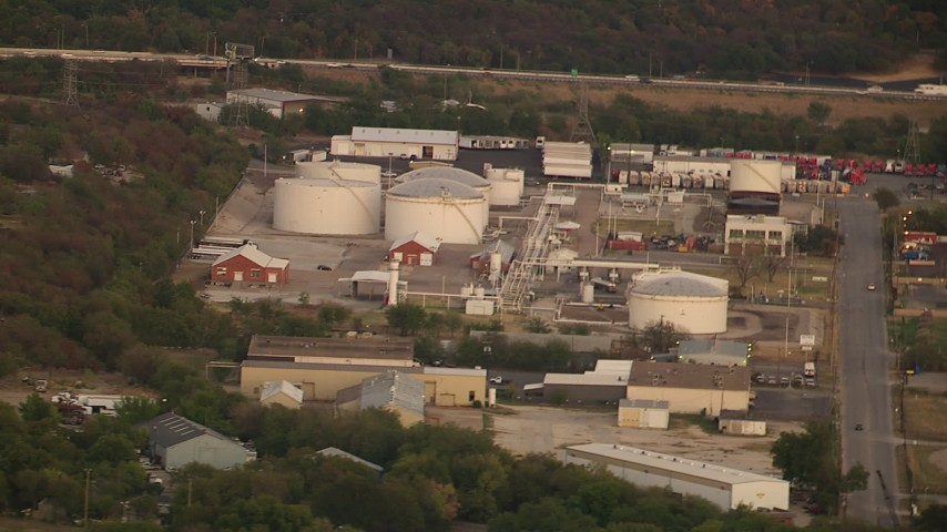 1080 stock footage aerial video of industrial buildings and tanks at sunset in Fort Worth, Texas Aerial Stock Footage | HDA12_015