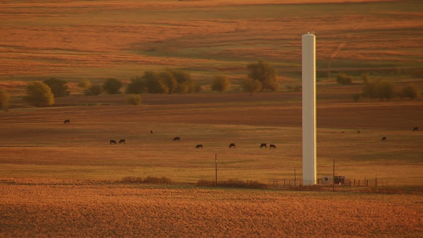 1080 stock footage aerial video of a tall silo on farmland near cattle at sunrise in Oklahoma Aerial Stock Footage | HDA12_058