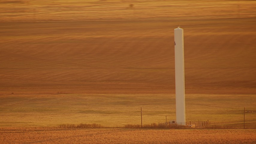 1080 stock footage aerial video of a silo in the middle of a field at sunrise in Oklahoma Aerial Stock Footage | HDA12_059