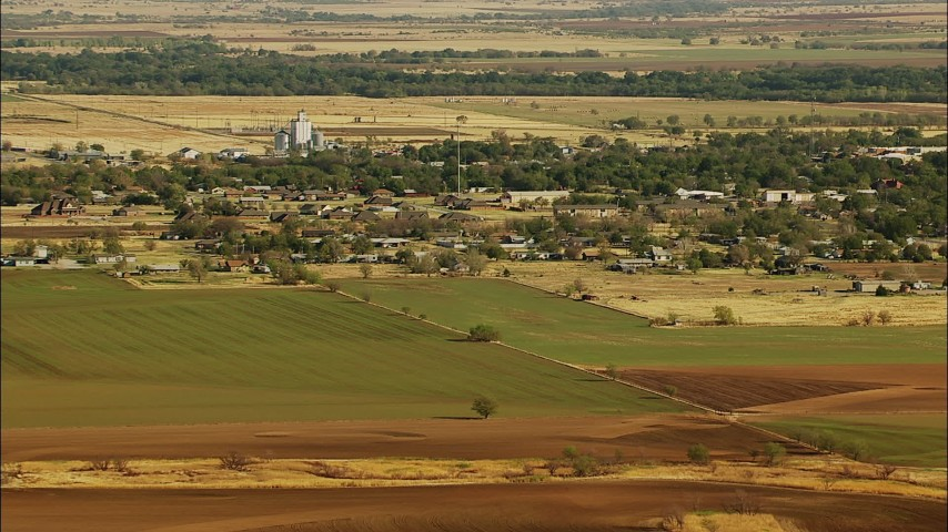 1080 stock footage aerial video of the town of Walters and farmland in Oklahoma Aerial Stock Footage | HDA12_094