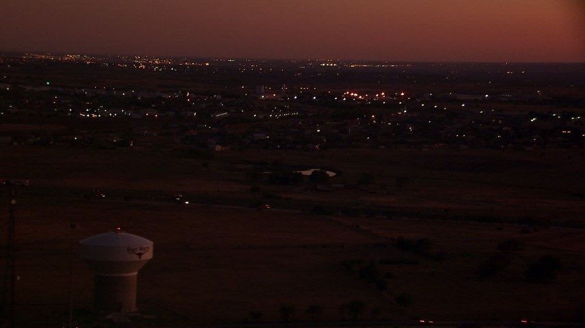 1080 stock footage aerial video of flying by Highway 287/81, Fort Worth, Texas, night Aerial Stock Footage | HDA12_183