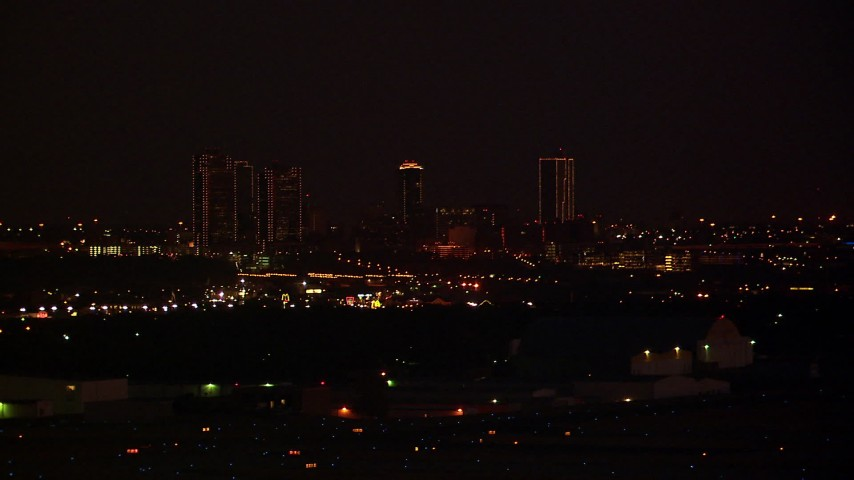 1080 stock footage aerial video of the Downtown Fort Worth skyline at night, Texas Aerial Stock Footage | HDA12_188