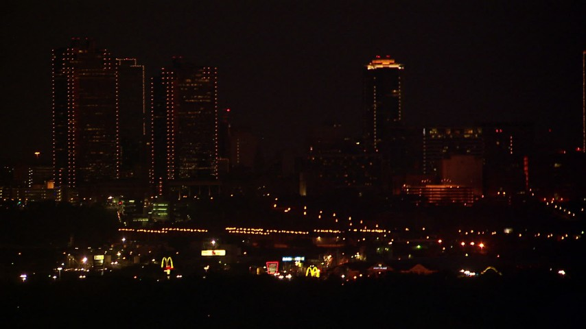 1080 stock footage aerial video of the skylines of Downtown Fort Worth, Texas at nighttime Aerial Stock Footage   HDA12_189