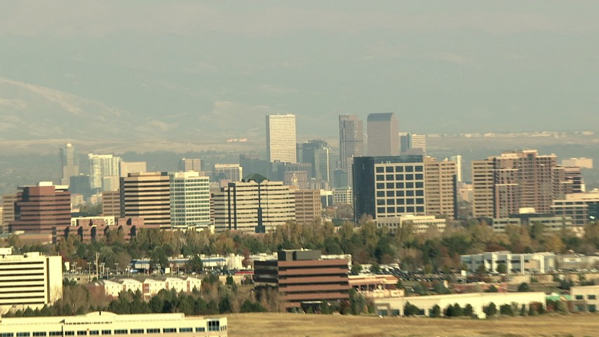 HD stock footage aerial video of the Denver skyline and office buildings seen from Centennial, Colorado Aerial Stock Footage HDA13_272 | Axiom Images