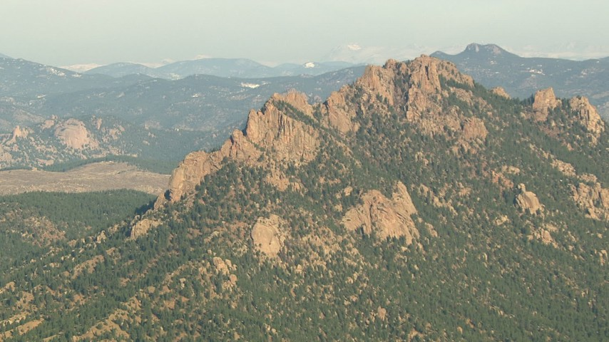 HD stock footage aerial video of a jagged peak in the Rocky Mountains, Colorado Aerial Stock Footage   HDA13_289