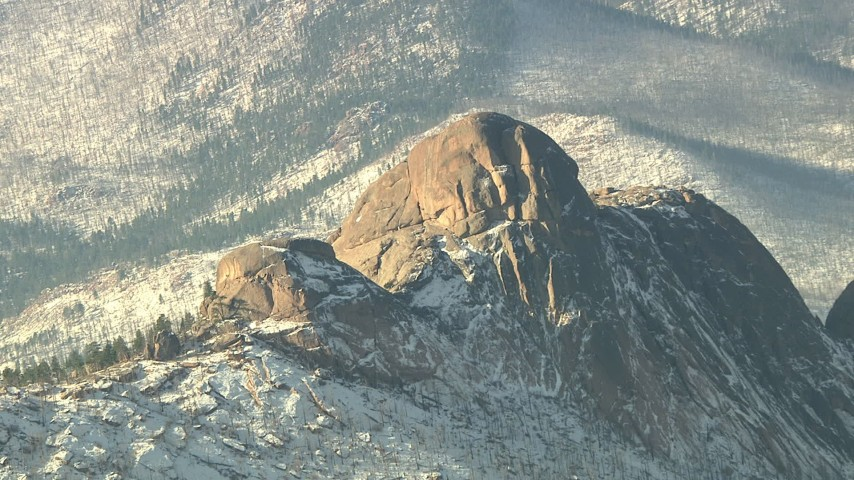 HD stock footage aerial video of a rounded peak with snow in the Rocky Mountains, Colorado Aerial Stock Footage | HDA13_294