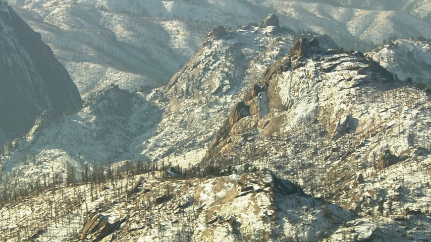 HD stock footage aerial video of snow-dusted ridges in the Rocky Mountains, Colorado Aerial Stock Footage   HDA13_297