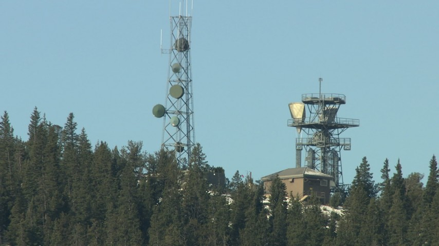 HD stock footage aerial video of transmission towers in the Rocky Mountains, Colorado Aerial Stock Footage   HDA13_304