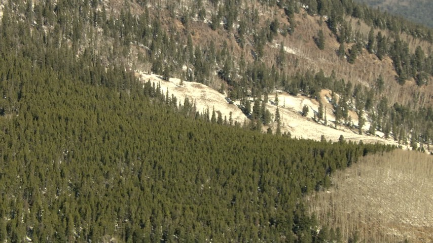 HD stock footage aerial video of a snowy slope and evergreen forest in the Rocky Mountains, Colorado Aerial Stock Footage | HDA13_327