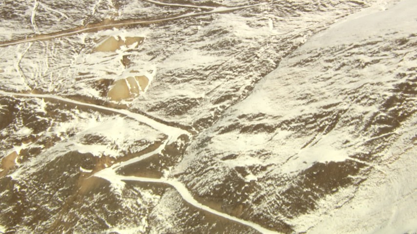 HD stock footage aerial video of paths up the slope of a mountain in the Rocky Mountains, Colorado Aerial Stock Footage   HDA13_363