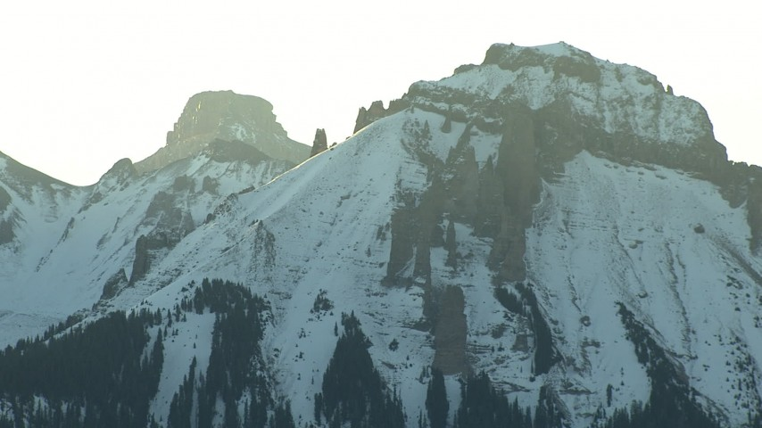 HD stock footage aerial video of Rocky Mountains peaks at sunrise in Colorado Aerial Stock Footage | HDA13_403_01