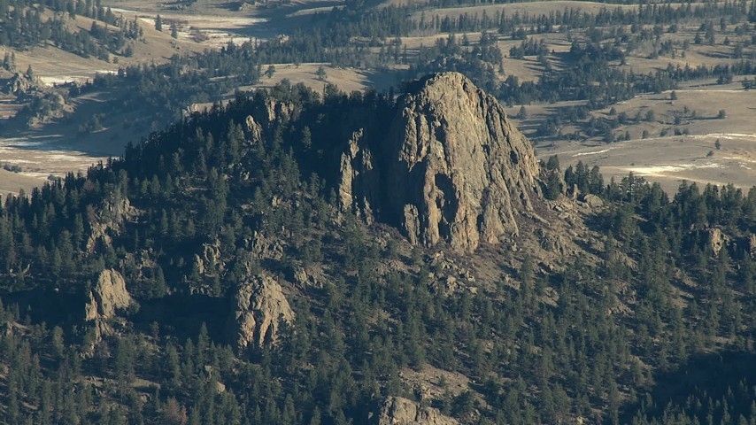 HD stock footage aerial video of flying by the stony summit of a peak in the Rocky Mountains, Colorado Aerial Stock Footage | HDA13_469