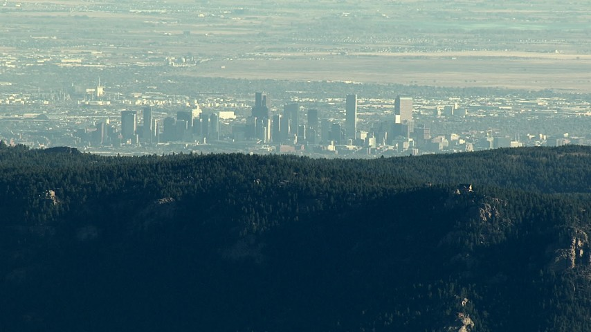 HD stock footage aerial video of the Denver skyline seen from the Rocky Mountains, Colorado Aerial Stock Footage | HDA13_477