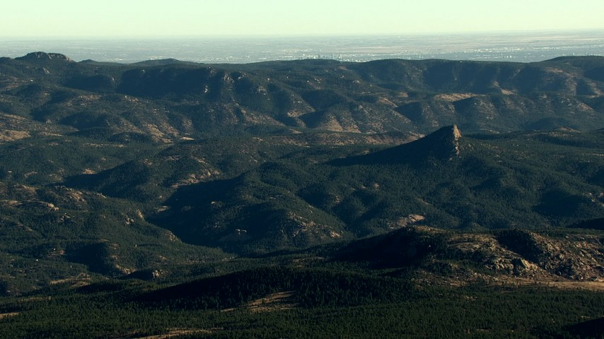 HD stock footage aerial video of the Rocky Mountains with Denver visible in the background, Colorado Aerial Stock Footage | HDA13_477_02