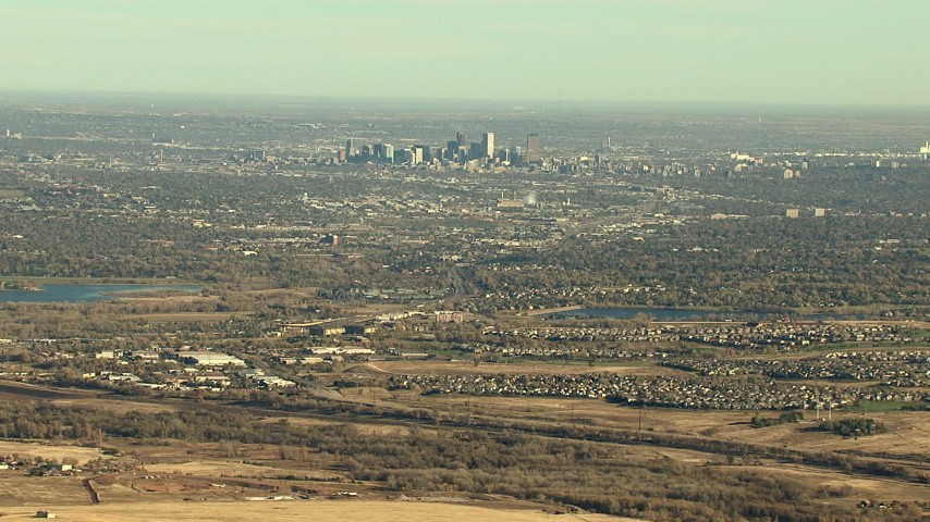 HD stock footage aerial video of Downtown Denver skyline and suburbs in Colorado Aerial Stock Footage | HDA13_483_03