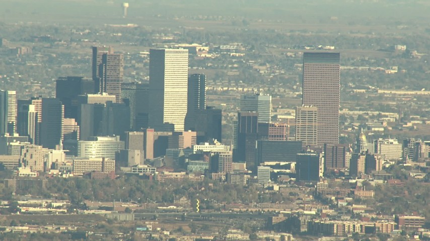 HD stock footage aerial video of Downtown Denver skyscrapers in Colorado Aerial Stock Footage | HDA13_485
