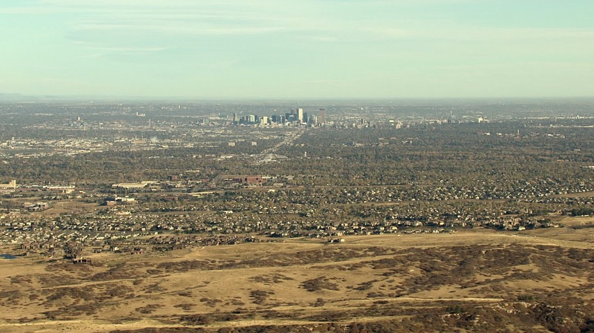 HD stock footage aerial video of Downtown Denver at the center of suburban neighborhoods in Colorado Aerial Stock Footage | HDA13_485_03